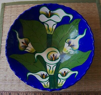 Vintage Mexican Pottery Footed Calla Lilly Bowl - 9 in - Mexico - Nice!
