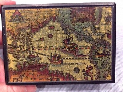 Vintage Black Metal Plastic Trinket Hinged Box Old World Map Made in Japan