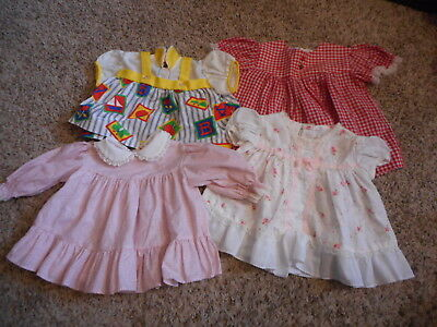 Vintage 1980s  Baby Girl Clothes Four Dresses Size 0 - 6  Month Lot #839