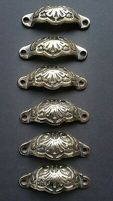 "6 Apothecary Drawer Bin Pull Handles POLISHED Ant. Victorian Style 3 9/16""  #A2"