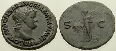 040. Roman Bronze Coin. NERO. AE-As. Rome. Victory Flying. VF