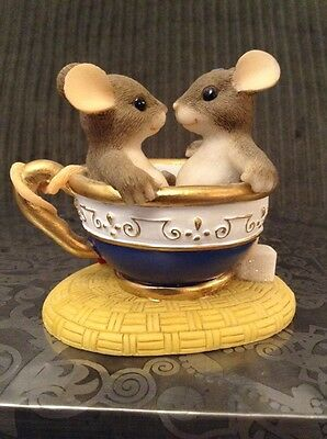 "Charming Tails ""You Are My Cup of Tea"" Figurine Teacup SIGNED BY ARTIST"