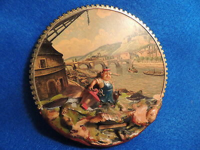 Old Antique German Wooden Wall Plaque