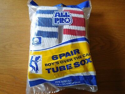 Vintage Boy's / Men's Tube Sox Sock's 6 Pair Pack Size 9-11 Over the Calf