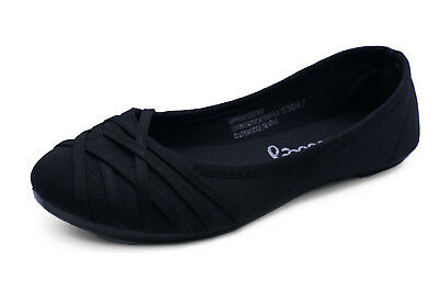 Ladies Slip-On Flat Black Work School Shoes Dolly Comfy Ballet Pumps Sizes 3-9