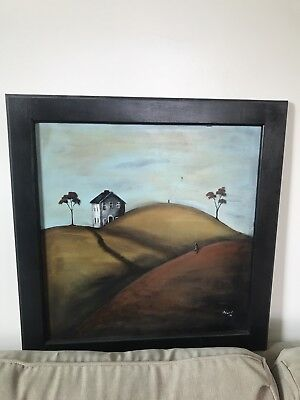 ORIGINAL PRIMITIVE STYLE FOLK ART Oil Painting