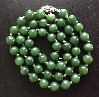 Fine Old VTG Antique Chinese Jade Green Stone Beaded Knotted Necklace Art NR