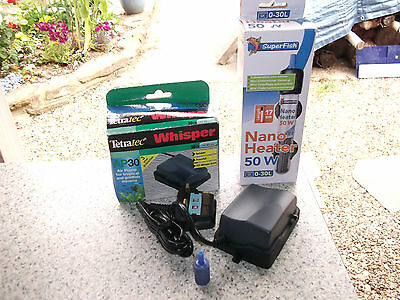 SUPERFISH NANO HEATER 50W FISH TANK AQUARIUM + Tetratec Whisper AP30 Air Pump