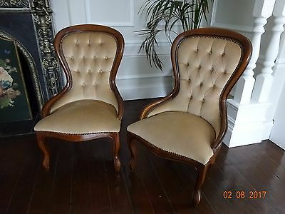 Pair of  Balloon Button Back Antique / Vintage Chairs ~ Biscuit / Beige / Cream