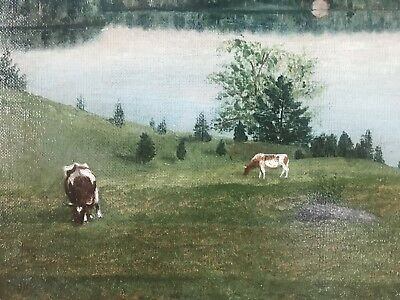 Antique  Hudson River School Landscape cows oil painting