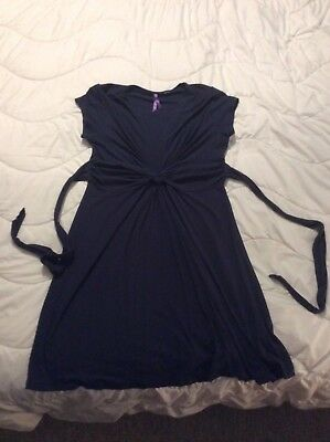 Seraphine Knot Front Maternity Dress, Navy, Size 12