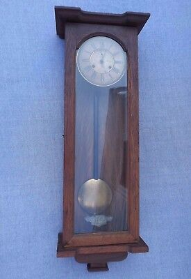Old Antique Ansonia Capitol Lg Wall / Regulator Wall Clock Runs Great Time Only