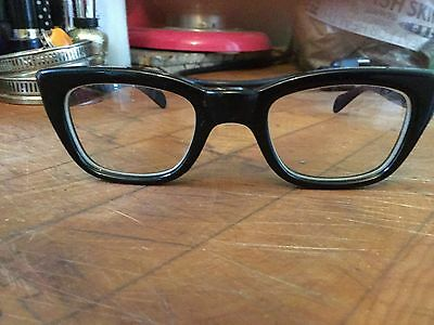 Military Issue Black Horn rim Glasses 5 1/2 Made in USA