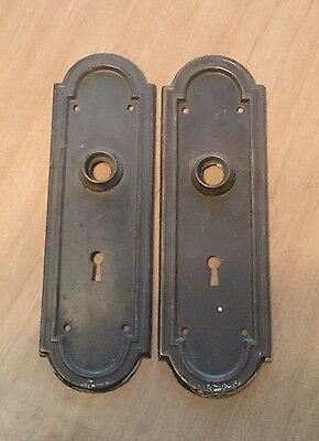 2 Vintage Brass Door Knob Backplate With Keyholes