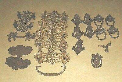 20 Vintage Assorted Brass Ornate Drawer Pulls Handles