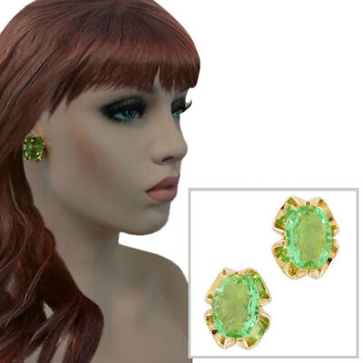 Large Crystal Gold Tone Big Jewel Light Green Clip On Earrings USA Made