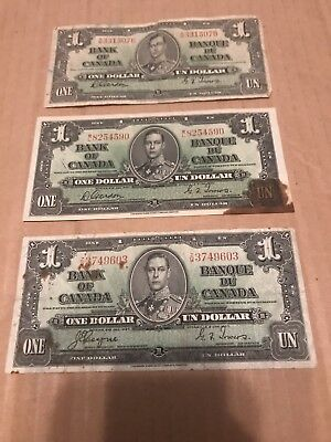 (3) All Dated 1937 Bank Of Canada One Dollar Banknotes