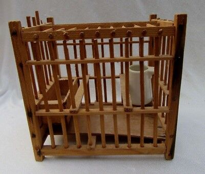Antique or Vintage Wood Miner's Canary Cage with Ironstone Waterer