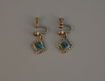 """Vintage Sterling Dangle Earrings - Silver Filagree & Turquoise - Old Mexico - 1"""""""