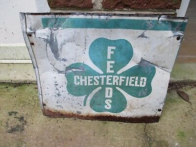 "Vintage CHESTERFIELD FEEDS CLOVERLEAF STORE METAL SIGN 16.5"" X 14"" FARM"