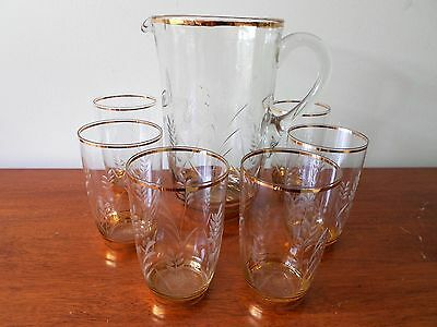 Vintage Cut Crystal Water Jug & 6 Glasses With Gold Banding Lemonade Set