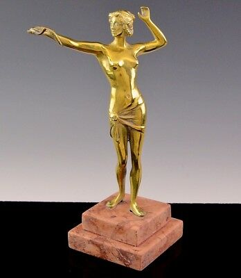 VERY NICE ART DECO GOLD GILT BRONZE STATUE OF NUDE MAIDEN w SNAKE ON STONE BASE