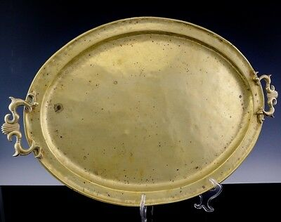 LARGE c1910 ARTS & CRAFTS PAUL BEAU MONTREAL HAMMERED BRASS SERVING PLATTER TRAY