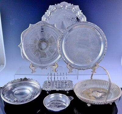 Qulaty Large Lot Silver Plate Victorian & Later Basket Toast Rack & Salver Trays