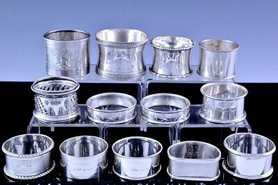Incredible Estate Lot 11 English French & American Sterling Silver Napkin Rings