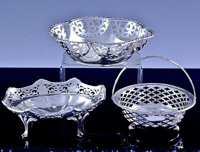 Estate Lot Of 3 Very Fine English & Birks Sterling Silver Nut Dishes Candy Bowls