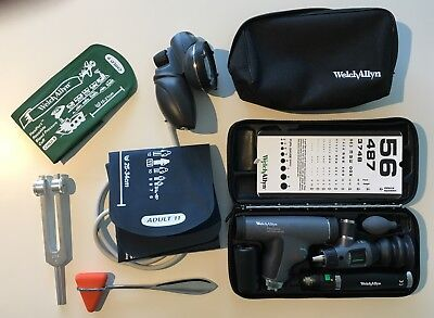 Welch Allyn Panoptic Ophthalmoscope/Otoscope set, w BP manometer and equipment