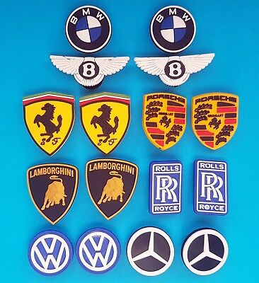 Car Logo Cake Toppers 8 Cupcake Decorations Rolls-Royce VW Porche BMW NEW
