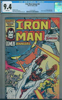 1986 Iron Man Annual # 8 CGC 9.4  X-Factor  Mr. Fantastic, Nick Fury White Pages