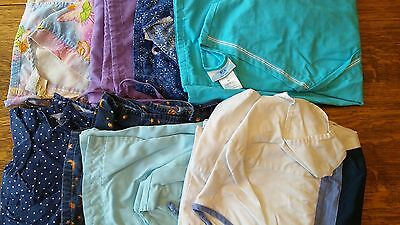 Lot of 8 Scrubs 7 Tops Shirts 1 Bottoms Pants Sizes S-M Small Medium Cherokee !!