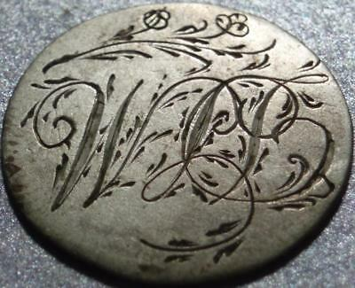 SILVER LOVE TOKEN Beautifully HAND ENGRAVED on a Before 1821 HALF REAL of MEXICO