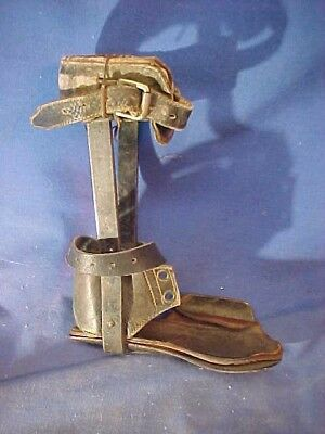 19thc CIVIL WAR Era CHILDS Metal + Leather ORTHOPEDIC LEG BRACE