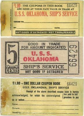 USS OKLAHOMA Good For 5¢ In Trade, SUNK AT PEARL HARBOR Nice SHIP'S SERVICE CHIT
