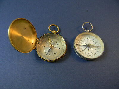 Two vintage compasses, both made in France, hand held