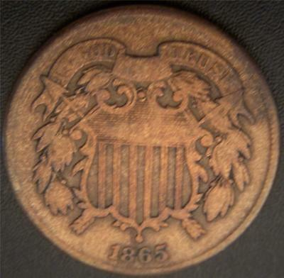 "1865 Two Cent Piece - A Partial Motto Shows on the Ribbon ""IN GOD __ TRUST"""