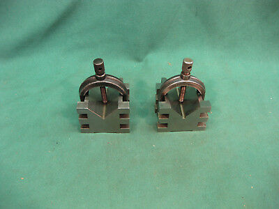 TWO BROWN & SHARPE No.750B V BLOCKS WITH CLAMPS