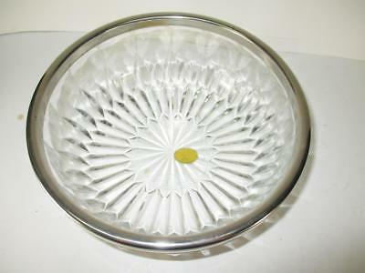 Vtg Genuine Crystal With Silver Plate Rim Large Salad Bowl by Leonard Italy