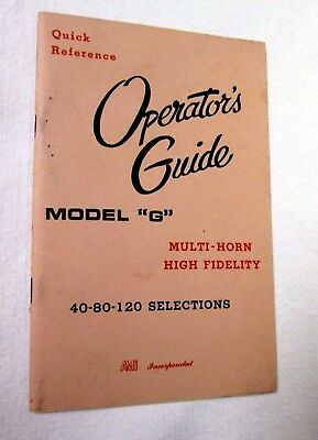 AMI MODEL G  OPERATOR's GUIDE Manual for Jukebox