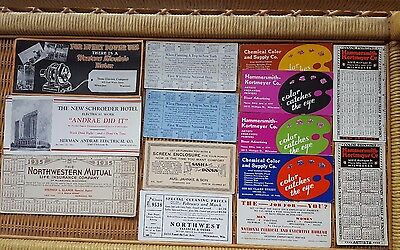 Lot of 14 Vintage 1930s Advertising Ink Blotters most from Milwaukee Wisconsin