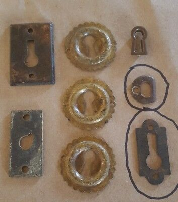 Lot 6 Vintage Solid Brass Inserts Keyhole Covers Escutcheon 2 plated brass