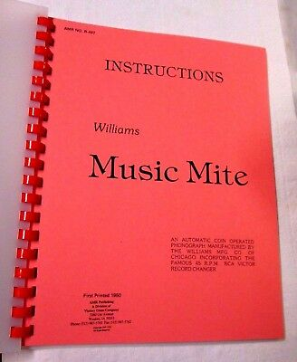 Coin Operated Phonograph Williams Music Mite Instruction Manual