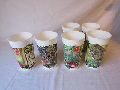Lot of 6 McDonalds Plastic Cups 1992 Jurassic Park Cups 3 different Coca Cola