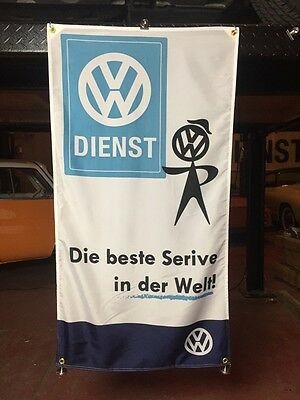 Volkswagen VW Banner Flag Vintage Service Sign Collectible Classic Rare Parts