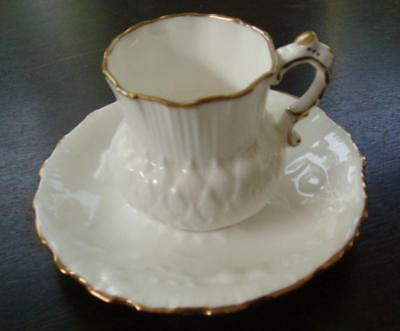 Thistle shaped Cup and saucer, Hammersley &Co , White with gold rim