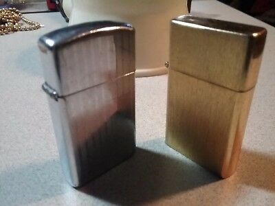 Lot of 2 Vintage Zippo Classic slim & 14K Gold Plated Lighter Mint made usa