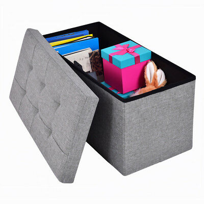 Foldable Storage Pouffe Footstool Seat Bench Ottoman Linen Suede Toy Box Gray